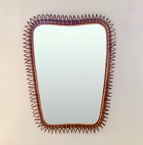 Large Rattan and Bamboo Mirror, circa 1950, Italy.