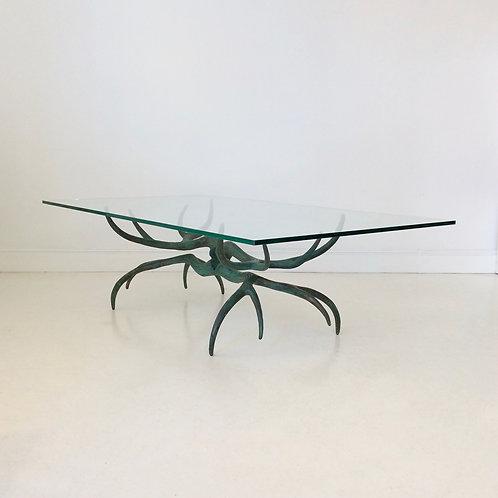 Sculptural Bronze Coffee Table, circa 1970, France.