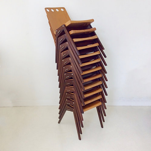 Set of 12  Stacking Plywood Chairs, circa 1950, Austria.