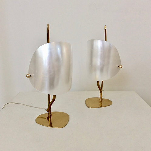 Pair Of Brass and Perspex Table Lamps, circa 1960, Italy.