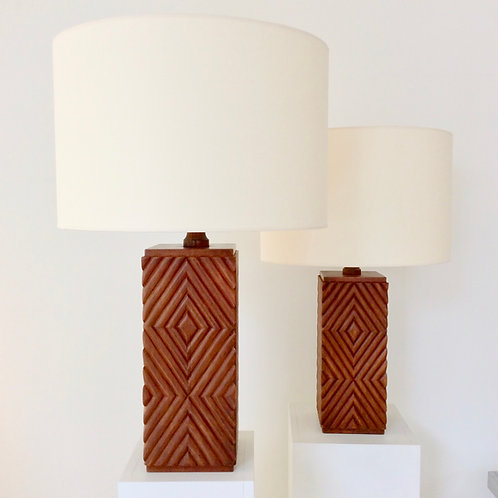 Pair of Large Carved Wood Table Lamp, circa 1970, Italy.