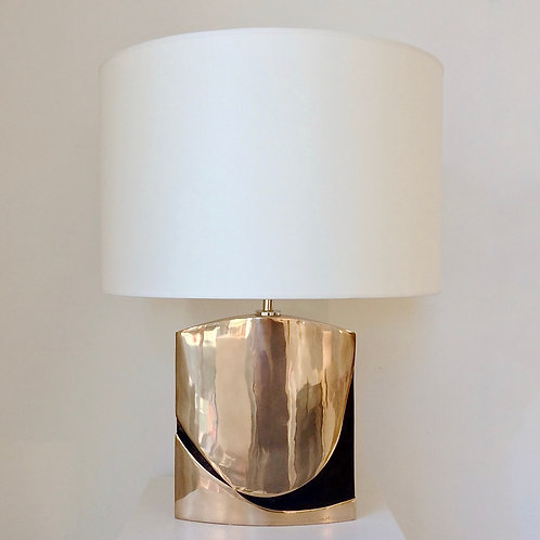 Esa Fedrigolli Bronze Table Lamp, circa 1970, Italy.