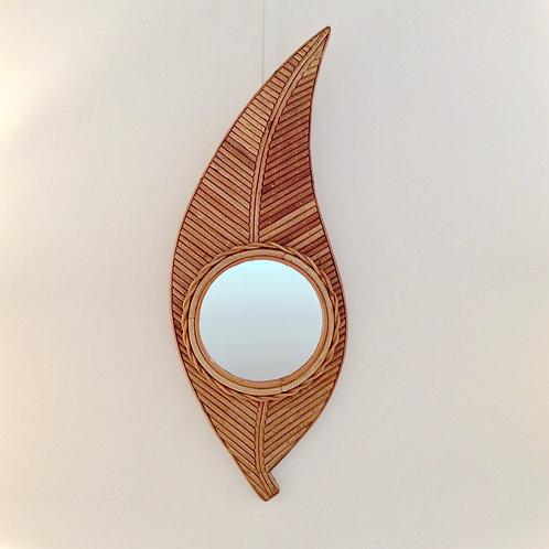 Bamboo Mirror Shaped Leaf, circa 1970, France.
