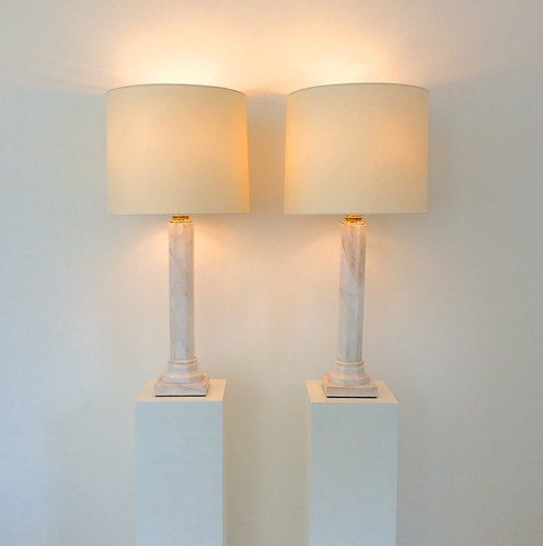 Jan Vlug Pair of Large Marble Table Lamps, circa 1975, Belgium.