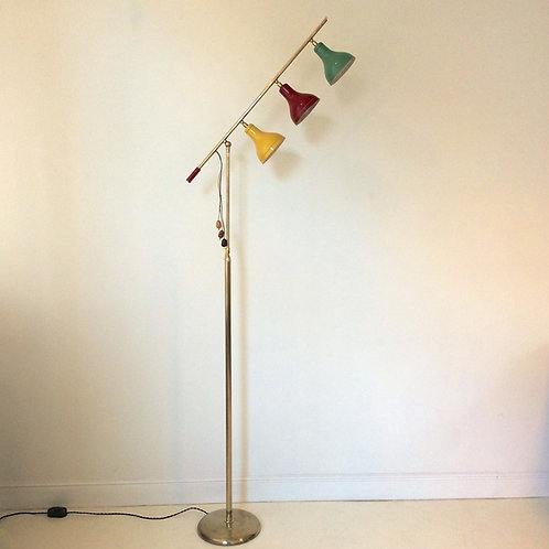 Rare Adjustable Floor Lamp , circa 1950, Italy.