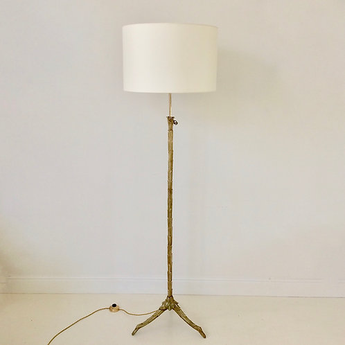 Maison Charles Gilt Bronze Floor Lamp, circa 1960, France.