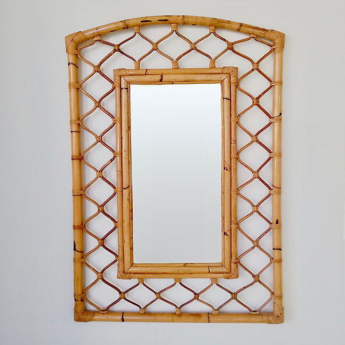 Large Decorative French Riviera Bamboo Mirror, circa 1970, France.