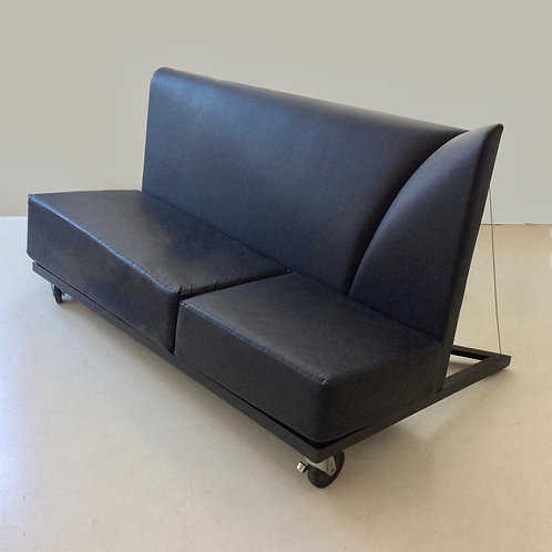 Asymmetric Leather Sofa by Palucco and Rivier, circa 1980, Italy.