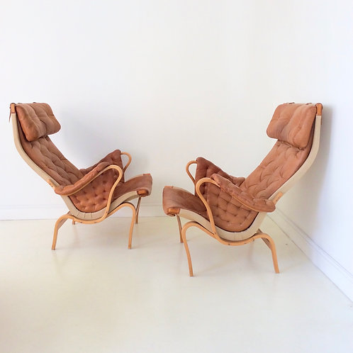 Pair Of Pernilla Armchairs by Bruno Mathsson, circa 1970, Sweden.