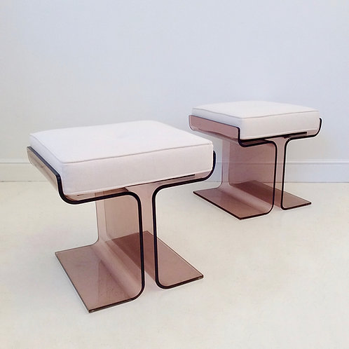 Pair of Plexiglass Stools, circa 1970, France.