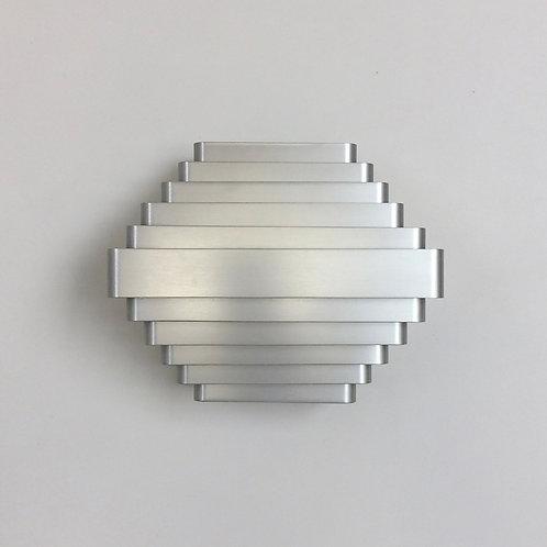 Jules Wabbes  Large Aluminum Wall Lamp, circa 1970, Belgium.