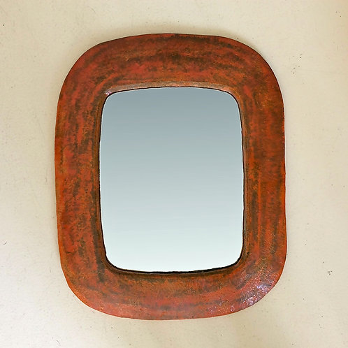 Ceramic Mirror, attributed to Juliette Derel, circa 1960, France.