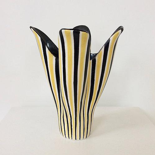 Corolla Stripped Ceramic Vase, circa 1950, France.