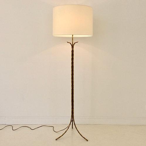 Gilt Bronze Floor Lamp By Maison Bagues, circa 1950, France.