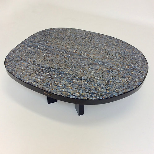 Ado Chale Freeform Mosaic of Chalcedony Agate Coffee Table, circa 1980, Belgium.