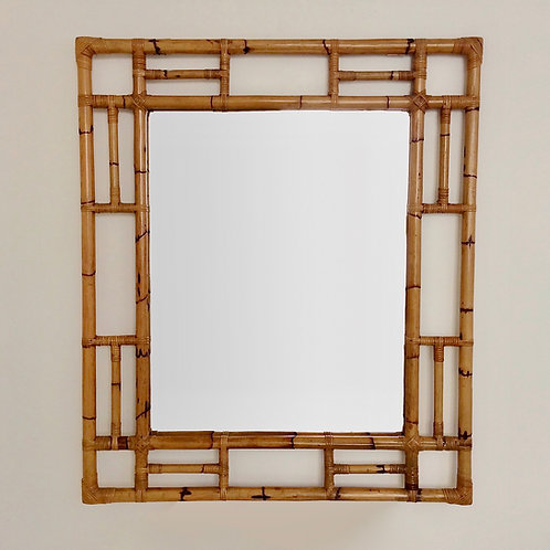 Large Decorative Mid-Century Bamboo Mirror, circa 1970, Italy.