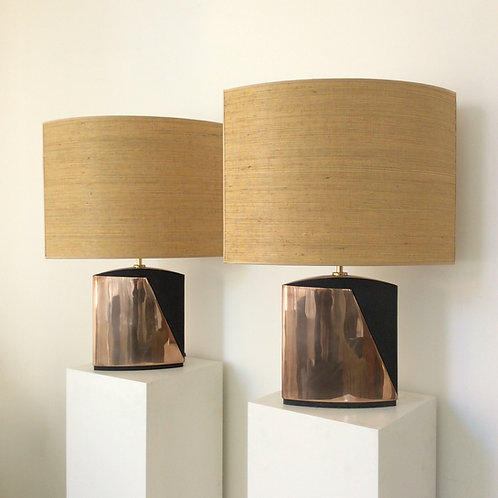 Pair of Esa Fedrigolli Bronze Table Lamps, circa 1970, Italy.