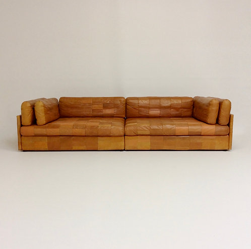 De Sede attributed Cognac Leather Sofa, circa 1970, Switzerland.