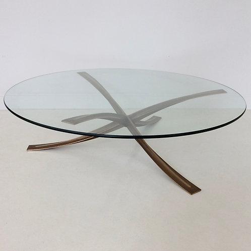 Michel Mangematin Bronze Coffee Table, circa 1960, France.
