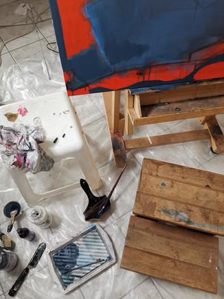 """Travail à l'atelier 21/02/21 détail toile en cours, projet """"It's good to be home"""""""