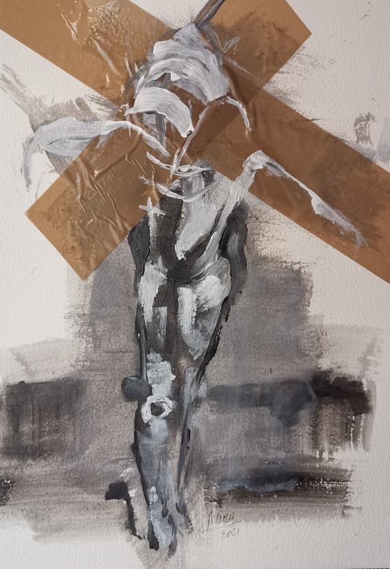 Crucifixion (étude corps pour crucifixion sur papier)