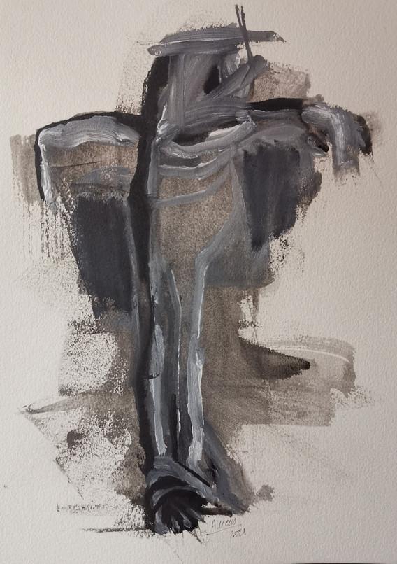 Crucifixion 2 Delphine ALLIENS.jpgCrucifixion (étude corps pour crucifixion sur papier)