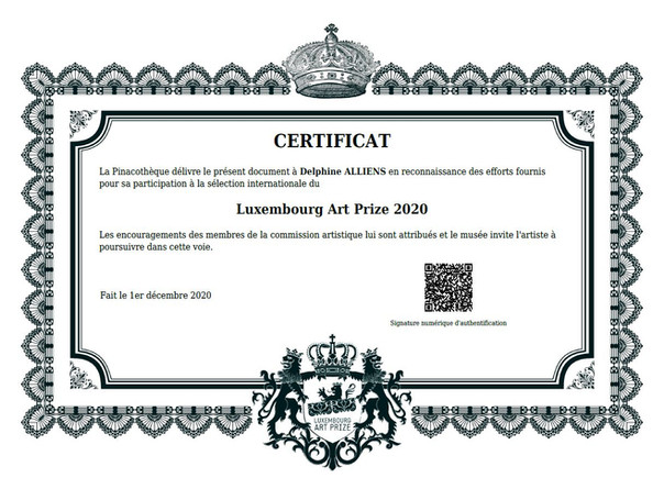 Certificat Luxembourg Art Prize 2020