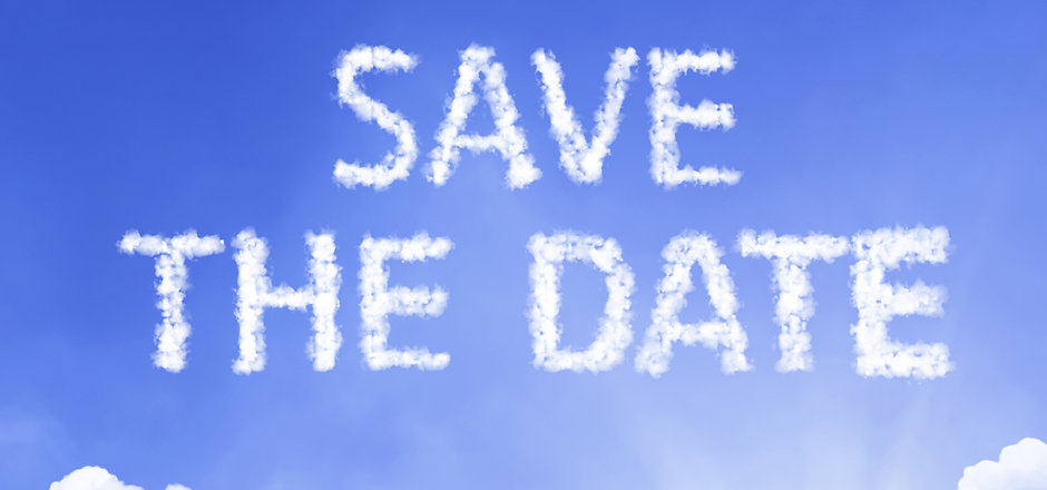 Save the Date cloud word with a blue sky