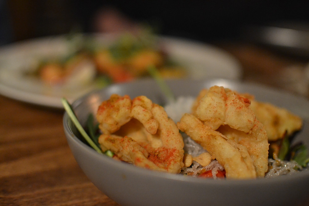 Crispy fried squid with crispy radish strips and chilli lime dressing