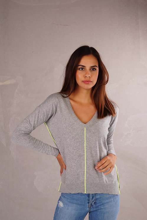 Pull Lima - Grey + fluo yellow