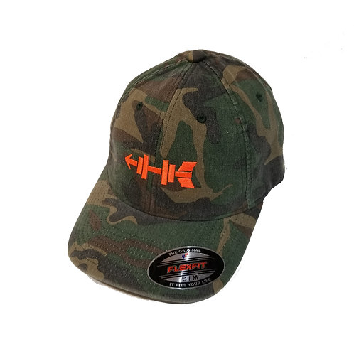 Camo Flex Fit Blaze Orange Logo