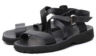 "A black Benedictine ""Nazarene"" style leather Sandal (unisex model)."