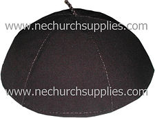 A brown Franciscan Zucchetto (skull cap) made from brown wool/cotton blend fabric