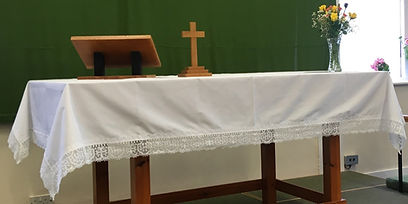 Bespoke altar cloth with lace