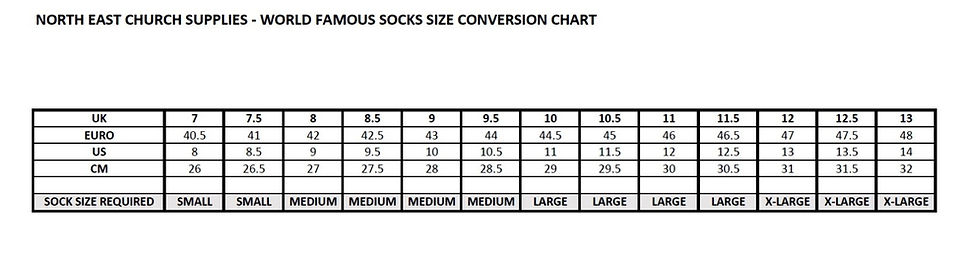 Word Famous Sock Size Chart
