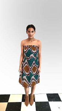 Robe bustier en tissu africain max