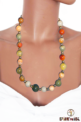 Collier rétro perles en verre multicolores
