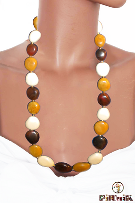 Collier vintage beige, marron