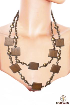 Collier sautoir perles en bois marron