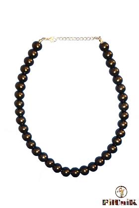 Collier noir perles en verre