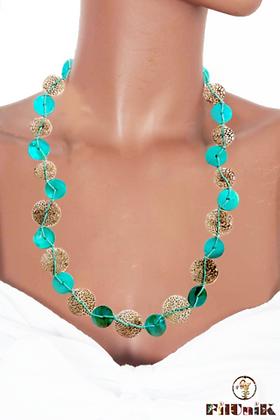 Collier ethnique pièces en métal vert