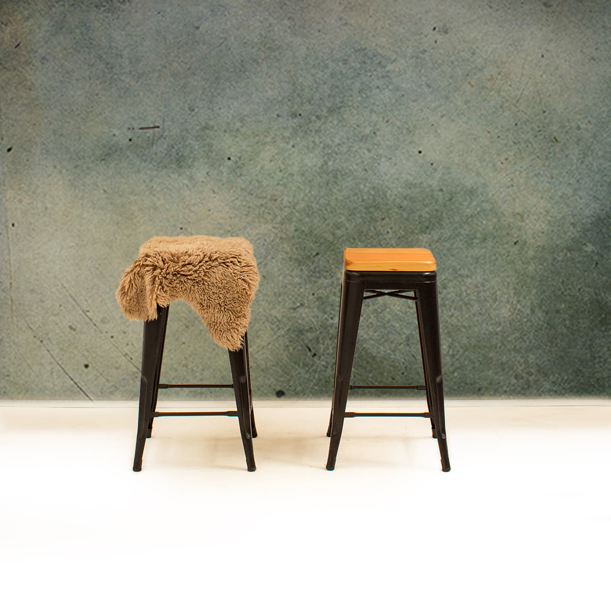 Bar Stools, One with Sheepskin