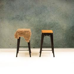 Bar Stools, One with Sheepskin