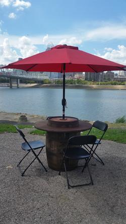 Barrel Table with Umbrella