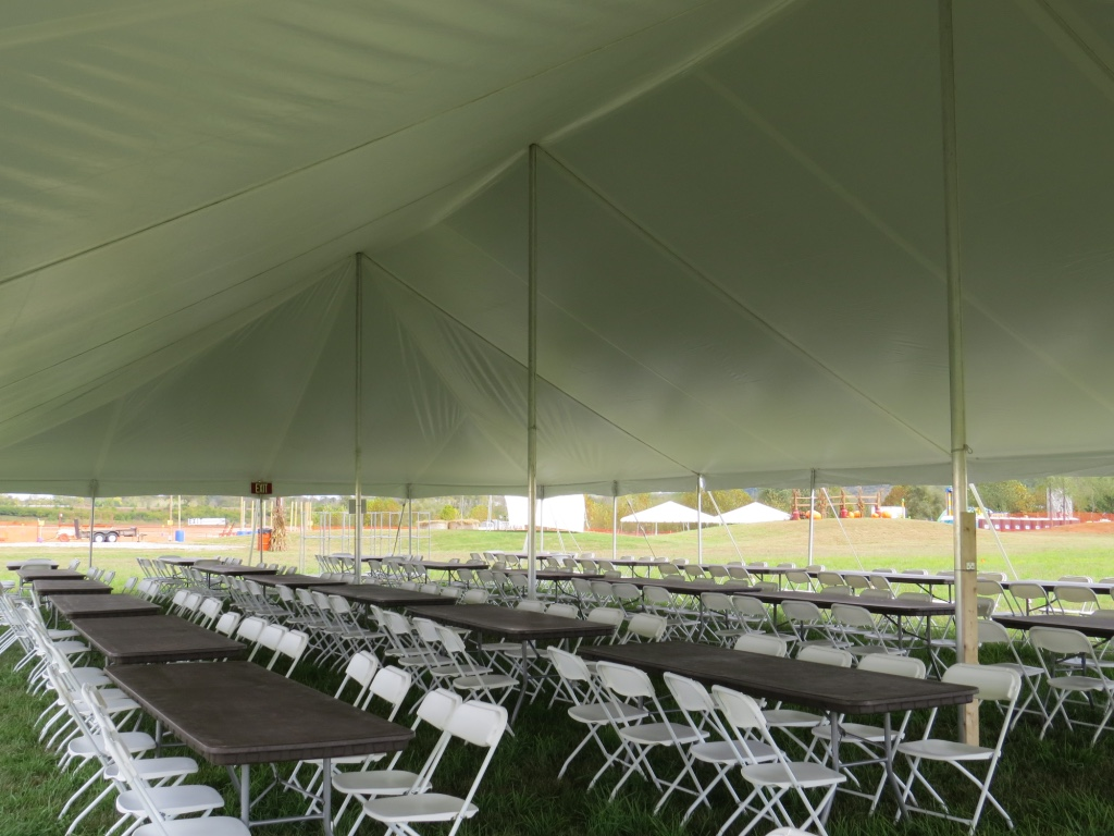Pole Tent with Tables and Chairs