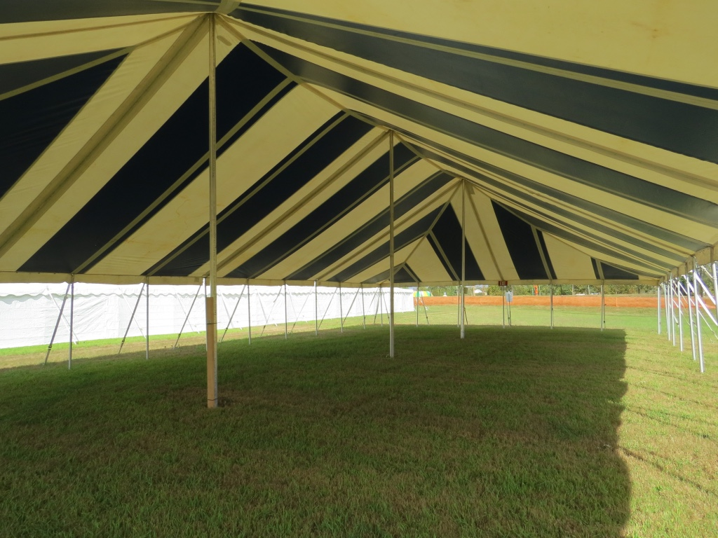Inside Striped Pole Tent