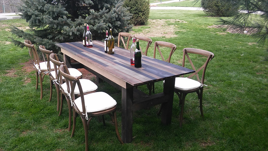 Vineyard Table & Wooden Chairs