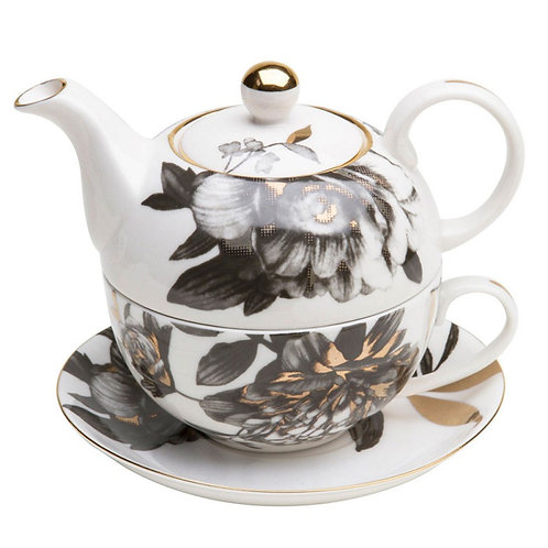 Black and Gold Peony Tea For One