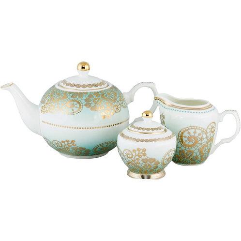 Antique Lace Blue 3 Piece Tea Set
