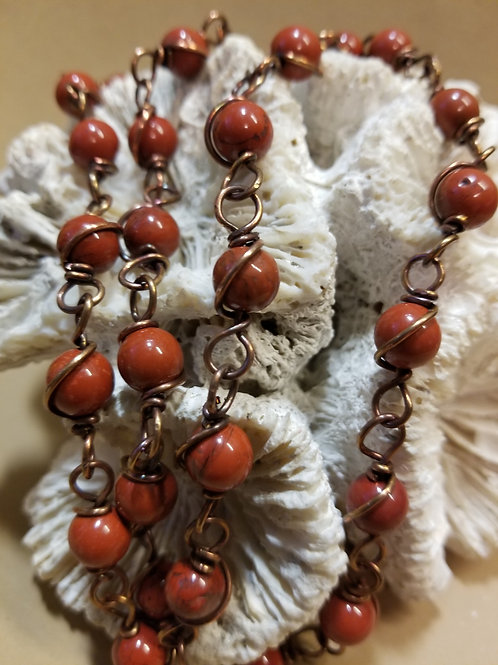 "24"" Red Jasper Beaded Chain"